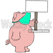 Clipart Illustration of a Pig Wearing A Mask And Holding Up A Blank Sign, Avoiding The Swine Flu © Dennis Cox #38909