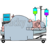 Clipart Illustration of a Sick Pig Resting In A Hospital Bed © Dennis Cox #38910
