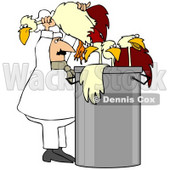 Clipart Illustration of a Chef Stuffing Chickens In A Soup Pot © Dennis Cox #38911