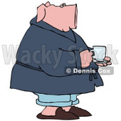 Clipart Illustration of a Sick Pick Drinking Tea And Standing In His PJs © Dennis Cox #39034