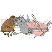 Clipart Illustration of a Cow, Elephant And Pig Swinging Together On A Playground © Dennis Cox #39760