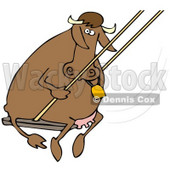 Clipart Illustration of a Playful Brown Cow Swinging © Dennis Cox #39761