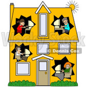 Clipart Illustration of a Techno Family Working On Their Computers In Different Rooms Of A Two Story House © djart #40042
