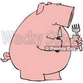 Clipart Illustration of a Hungry Pink Pig Holding A Knife And Fork © djart #40569