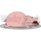Clipart Illustration of a Roasted Pink Pig With An Apple In Its Mouth, Served On A Platter © djart #40570