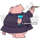 Clipart Illustration of a Wealthy Pig In A Robe, Drinking Champagne And Smoking A Cigar © Dennis Cox #40571