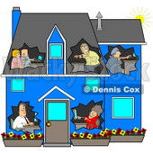 Clipart Illustration of a Networked Family Using Their Computers In Their Own Rooms Of A Blue House © Dennis Cox #41060