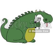 Clipart Illustration of a Starving Green Dragon Hanging His Tongue Out And Holding A Knife And Fork © Dennis Cox #41061