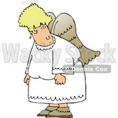 Angel with Wings Looking at Something Clipart © djart #4107