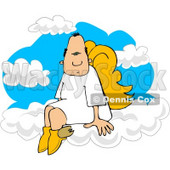 Male Angel with Wings Sitting On Clouds Clipart © djart #4114