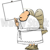 Male Angel with Wings and Halo Holding a Blank Sign Clipart © djart #4119