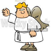 Male Angel Waving His Hand in the Air Clipart © Dennis Cox #4123
