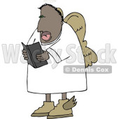 African American Angel Reading from a Bible Clipart © Dennis Cox #4126