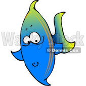 Tropical Marine Blue Fish Clipart © Dennis Cox #4129