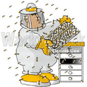 Male Beekeeper Checking a Honeybee Apiary (Bee Hives) Clipart © Dennis Cox #4131