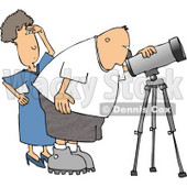 Woman Standing Beside Her Husband, the Astronomer, Looking Through a Telescope Clipart © Dennis Cox #4133