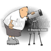 Male Astronomer Looking at the Sky Through a Telescope Clipart © Dennis Cox #4134