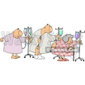 Ill Male and Female Patients Hooked up to IVs and Walking Around in a Hospital Clipart © Dennis Cox #4136
