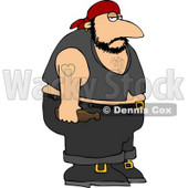 Obese Biker Man with a Heart Tattoo Clipart © Dennis Cox #4143
