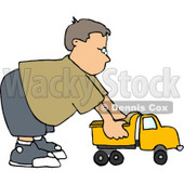 Boy Playing with a Tonka Toy Truck Clipart © djart #4147