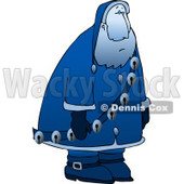 Clipart Illustration of a Sad, Depressed, Blue Santa Claus Moping Around And Wearing Jingle Bells © Dennis Cox #4149