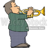 Boy Playing Music Through a Trumpet Clipart © djart #4150
