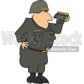 Military 5 Star General Looking Through Binoculars Clipart © Dennis Cox #4153