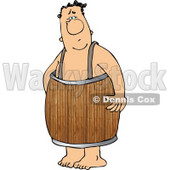 Naked Man Wearing a Wooden Barrel Around His Waist Clipart © djart #4162
