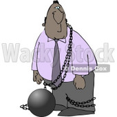 Illegal Immigrant Restrained with a Ball and Chain Clipart © Dennis Cox #4169
