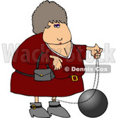 Female Criminal Wearing a Ball and Chain Clipart © Dennis Cox #4171
