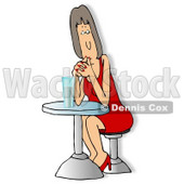 Woman Waiting On Her Date Clipart © Dennis Cox #4173