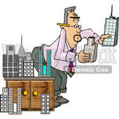 Male Architect Putting a Model City Together Clipart © Dennis Cox #4175