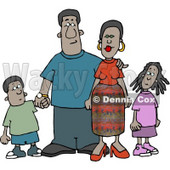 African American Family Standing Together as a Group Clipart © Dennis Cox #4177