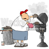 Man Putting a Hamburger On a Barbecue (BBQ) Grill Clipart © Dennis Cox #4178