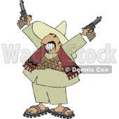Bandito Pointing Pistols in the Air with a Smile On His Face Clipart © djart #4181