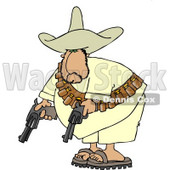 Bandit Pointing His Pistols Towards the Ground Clipart © Dennis Cox #4182
