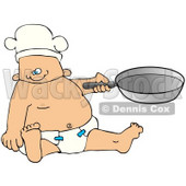 Clipart Illustration of a Baby Boy Chef In A Diaper And Hat, Holding A Pan © Dennis Cox #41825