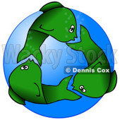 Clipart Illustration of Circling Green Fish Underwater, Resembling A Recycle Symbol © Dennis Cox #41826