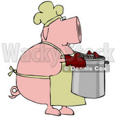 Clipart Illustration of a Pink Pig Chef In A Hat And Apron, Carrying A Pot Of Beans © Dennis Cox #41827
