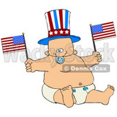 Clipart Illustration of an Uncle Sam Baby Boy In A Diaper, Waving American Flags © Dennis Cox #41828