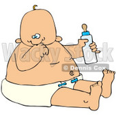 Clipart Illustration of a Baby Boy In A Diaper, Holding A Bottle Of Formula © Dennis Cox #41829