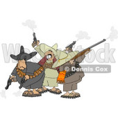 Banditos Shooting Pistols and Rifles Clipart © Dennis Cox #4183