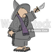 Bandito Holding a Gun and Knife Clipart © Dennis Cox #4184