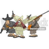 Riled Up Mexican Banditos Pointing Guns and Rifles Clipart © Dennis Cox #4186