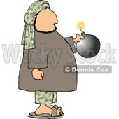 Male Suicide Bomber Holding a Bomb with a Lit Fuse Clipart © Dennis Cox #4191