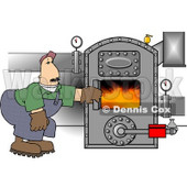 Man Opening the Door of a Hot Boiler with Valves Clipart © djart #4193