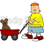Boy Pulling His Teddy Bear in a Red Toy Wagon Clipart © Dennis Cox #4194