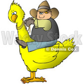 Cowboy Riding a Big Yellow Bird Clipart © Dennis Cox #4199