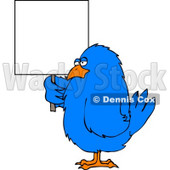Big Blue Bird Holding a Blank Sign Clipart © Dennis Cox #4201