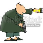Alert Man at Night, Pointing a Flashlight and Holding a Pistol Clipart © djart #4202